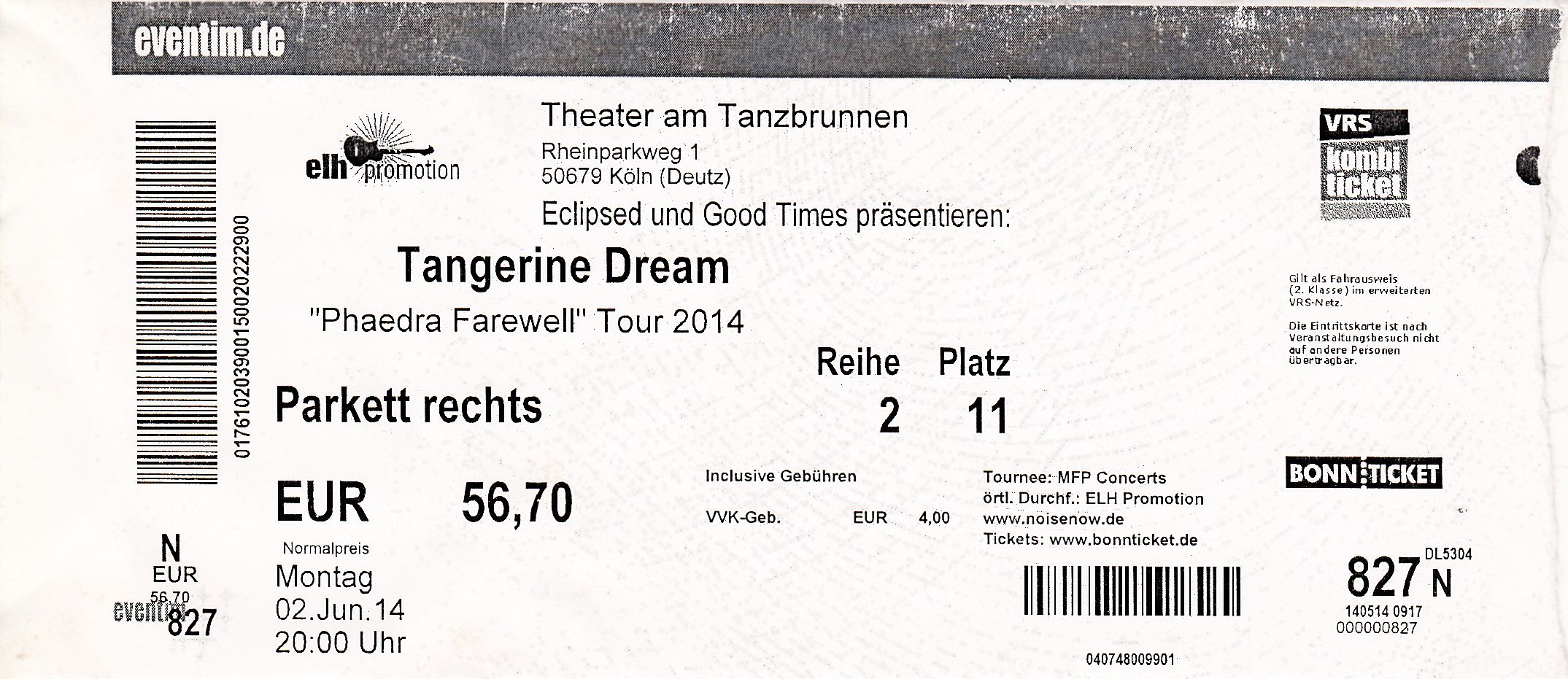 Ticket From The Cologne Concert